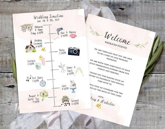 Wedding Timeline Editable Timeline Printable Wedding Etsy Wedding Itinerary Template Wedding Timeline Wedding Itinerary