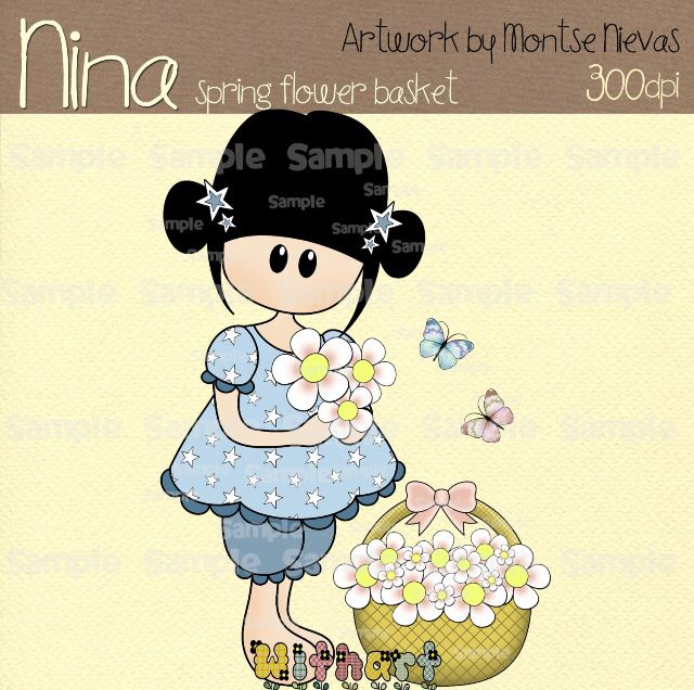 Nina dolls clipart, digital Illustration by Withart for scrapbooking, cardmaking and crafts. Spring, doll, flowers, butterfly. www.etsy.com/shop/withart