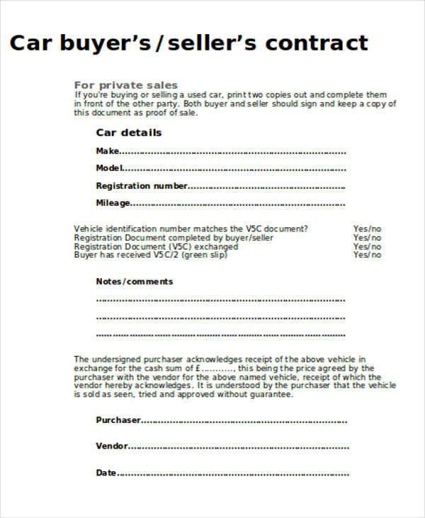 Used Car Receipt Template Word