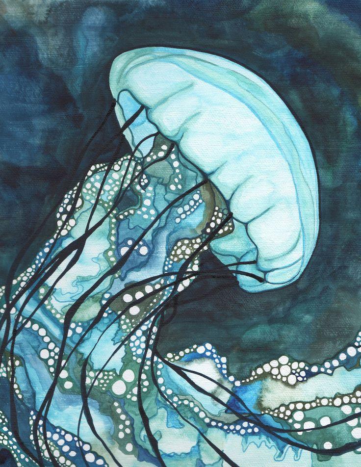AQUA Sea Nettle Jellyfish 8.5 x 11 print of detailed watercolour artwork in dark turquoise blue and teal seaweed green, marine ocean jellies