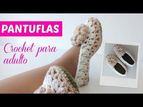 Zapatillas de andar por casa a crochet tunecino B №69 - YouTube