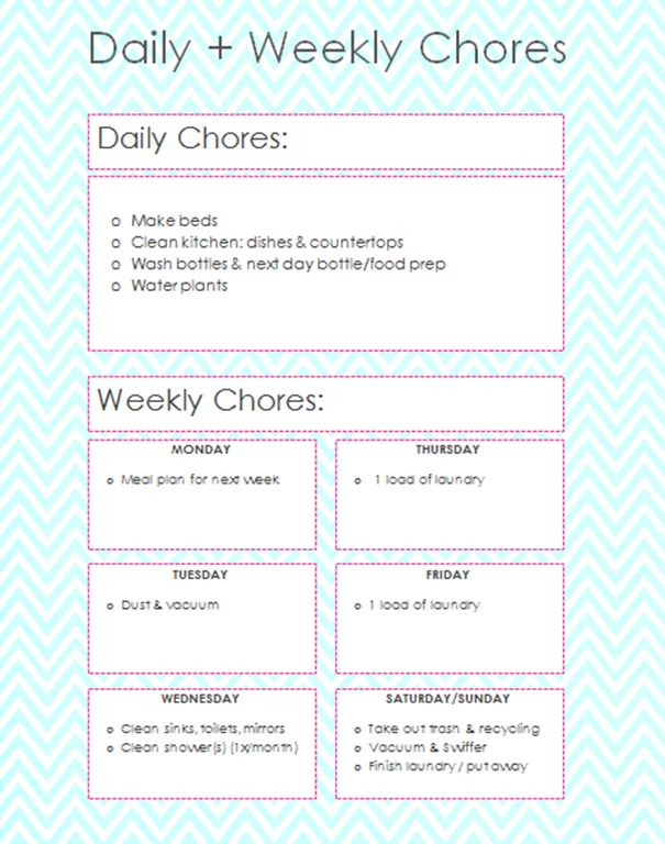 Daily and Weekly Chores for working moms