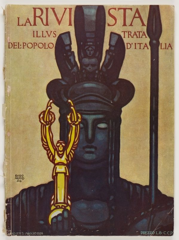 La Rivista, anno II, n. 5 (Maggio 1924), front cover: [Illustration of the Italia Turrita holding a golden statue of the winged victory of Samothrace, signed] Guido Marussig