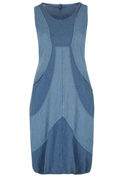 Lange jurk van gestreept linnen - Indigo
