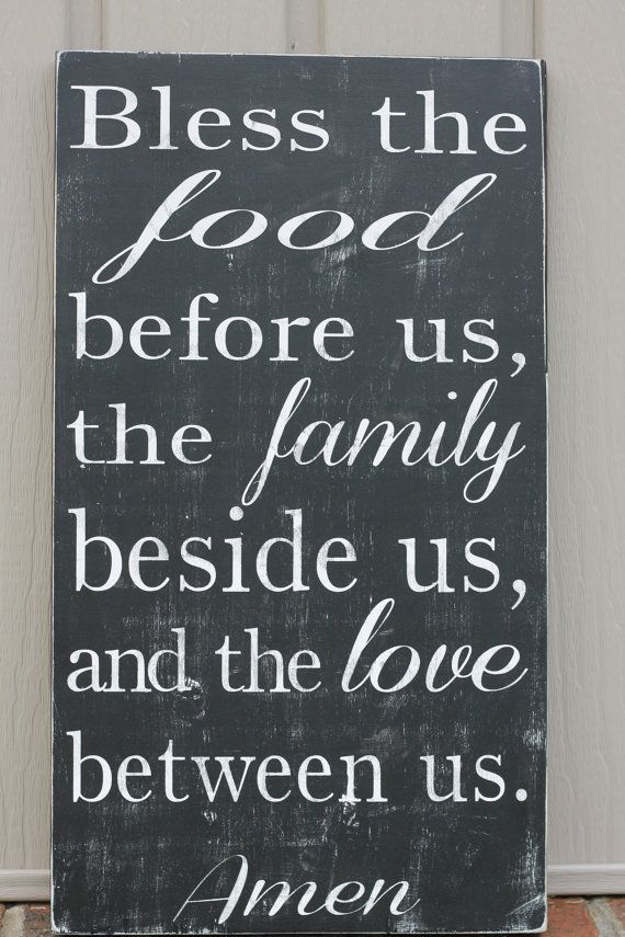 Great family mealtime prayer- Bless the food before us, the family beside us, and the love between us, fall decor, wood sign,  subway art, family sign on Etsy, $49.00
