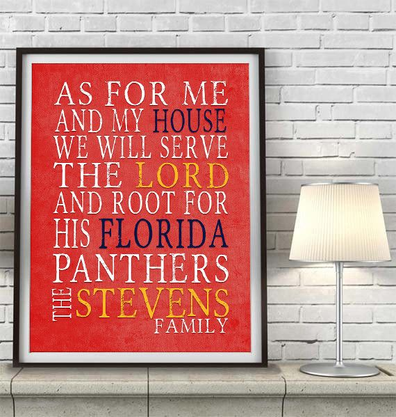 """Florida Panthers hockey inspired Personalized Customized Art Print- """"As for Me"""" Parody- Unframed Print"""