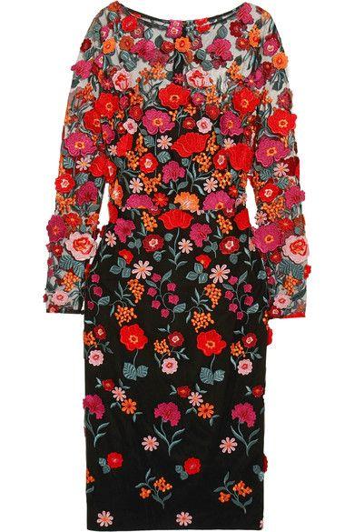 Lela Rose - Appliquéd Embroidered Tulle Dress