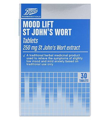 #Boots Pharmaceuticals Boots St Johns Wort tablets - 30 x 250 mg #44 Advantage card points. Boots Pharmaceuticals St Johns Wort tablets. St Johns Wort extract 250mg. A traditional herbal medicinal product used to relieve the symptoms of slighty low mood and mild anxiety based on traditional use only. Always read the label. FREE Delivery on orders over 45 GBP. (Barcode EAN=5045097709301)