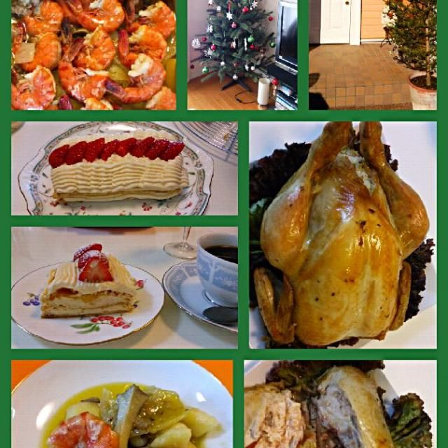 きょうは、クリスマスメニューを意識したメニューです。(*´∇`*)  丸鶏のローストチキン♪ 海老ときのこのオイル煮込み♪ いちごのカスタードパイ♪  きょうは、約3キロの丸鶏のローストチキンを作りました。 下ごしらえから、チキンの中にはピラフを入れて、1時間半~オーブンで焼き上げました。焼き上がりのローストチキンの切り分け方も教えて頂きました♪ - 117件のもぐもぐ - 今月のお料理教室♪ by ゆっこ