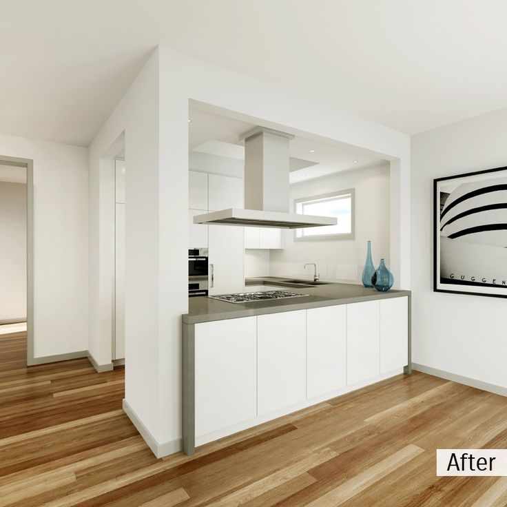 AFTER: The surrounding walls were removed in the renovation