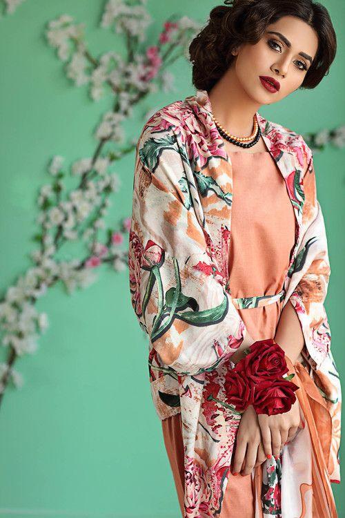 Gul Ahmed 3 Piece Stitched Bamboo Silk Dress BS-08 - Peach - libasco.com    gulahmed #gulahmeddresses #gulahmedcollection #gulahmed2017 #gulahmedlawn #gulahmedsuits