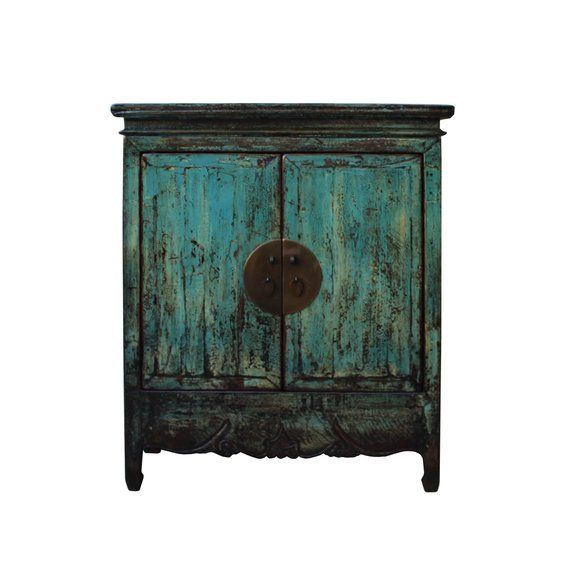 Chinese Distressed Rustic Blue Teal Turquoise Foyer Console Table
