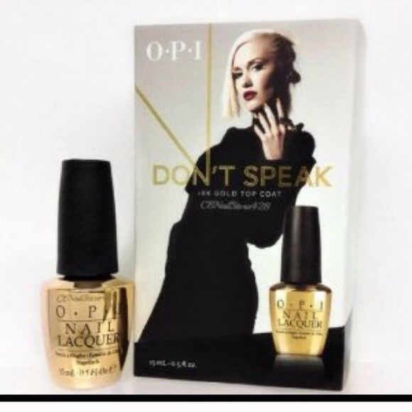 18 K Gold OPI Top Coat OPI Don't Speak 18k gold! Brand new in box. Spectacular top coat especially gold on gold. Great gift! Price firm, discount on bundles. L.A.M.B. Makeup