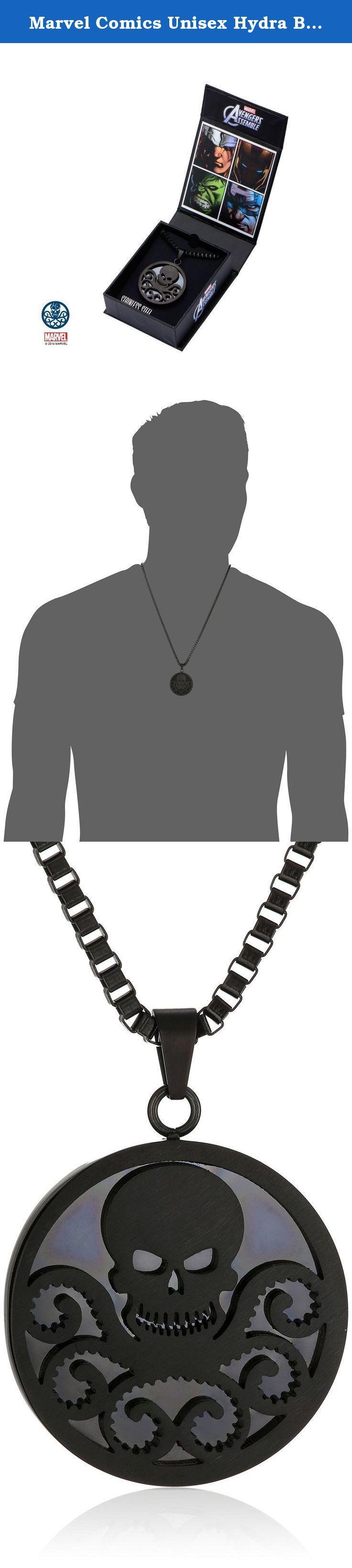 "Marvel Comics Unisex Hydra Black Stainless Steel Chain Pendant Necklace, 24"". Marvel Comics Hydra Pendant Necklace - 24"" Item Category: Necklaces Material: Stainless Steel Necklace Length: 24"" ."