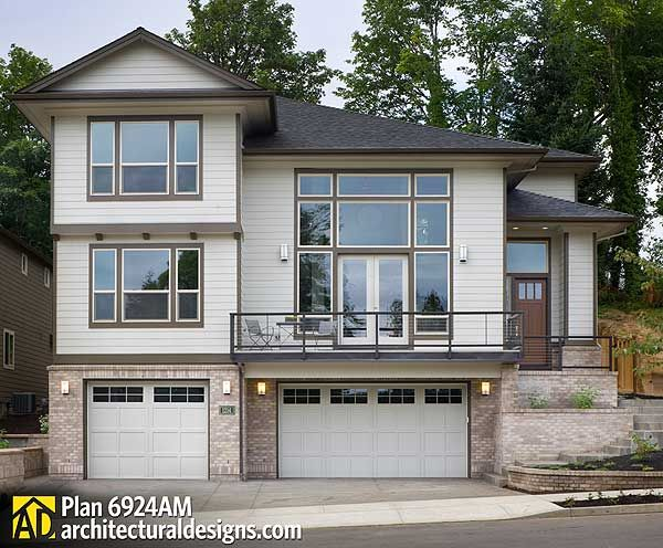 Plan 6924am for a front sloping lot house plans exterior colors and we - House plans with garage below ...