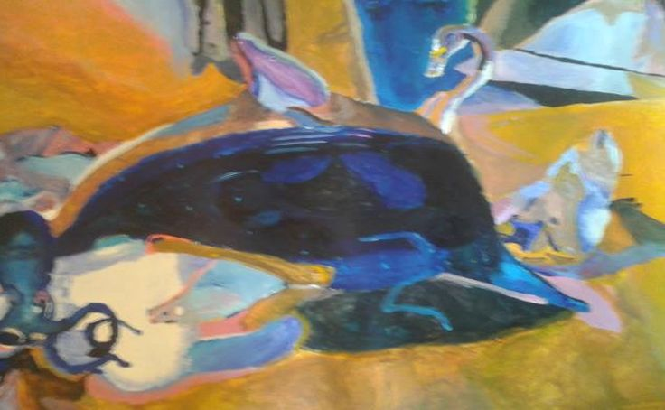 March 2014  An acrylic painting I did of glass octopus, dolphin and swan statues :P