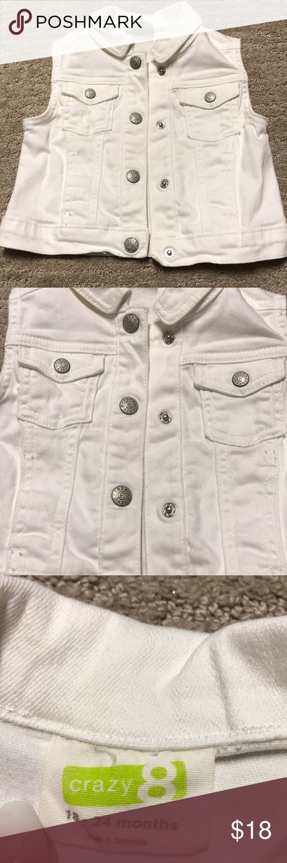 Baby White Jean Vest Great condition! Size 18-24 Months, white jean vest with snap buttons Crazy 8 Jackets & Coats Vests