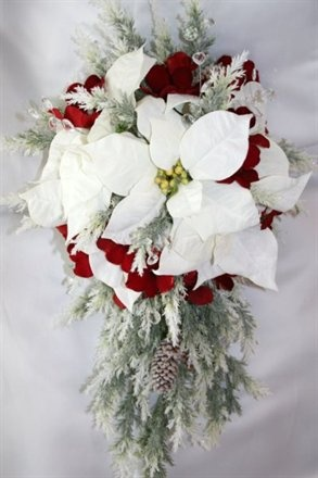 White Pointsettia w/ Silver & Red Accents  except turn the red accents into navy