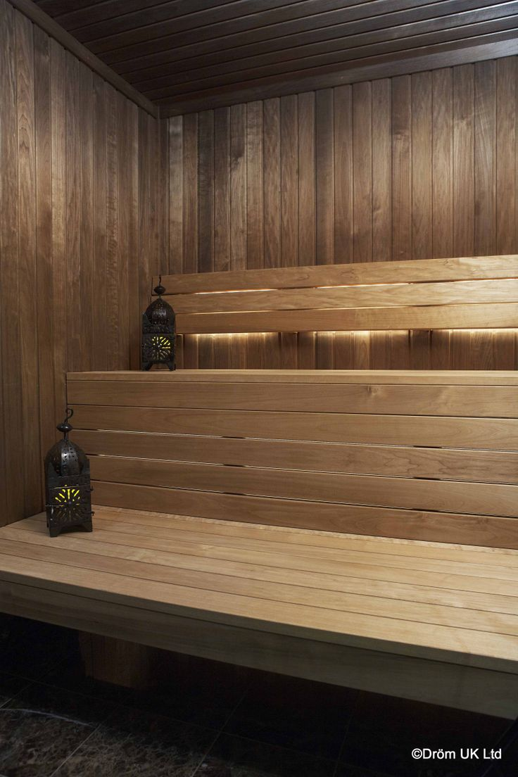 The 'Notte' Sauna from Dröm UK showcases intense Thermo Aspen heat treated wood panelling with contrasting luxury Thermo Aspen benches. A contoured backrest has been fitted for added comfort during bathing. The heat treated wood is naturally wonderfully aromatic.