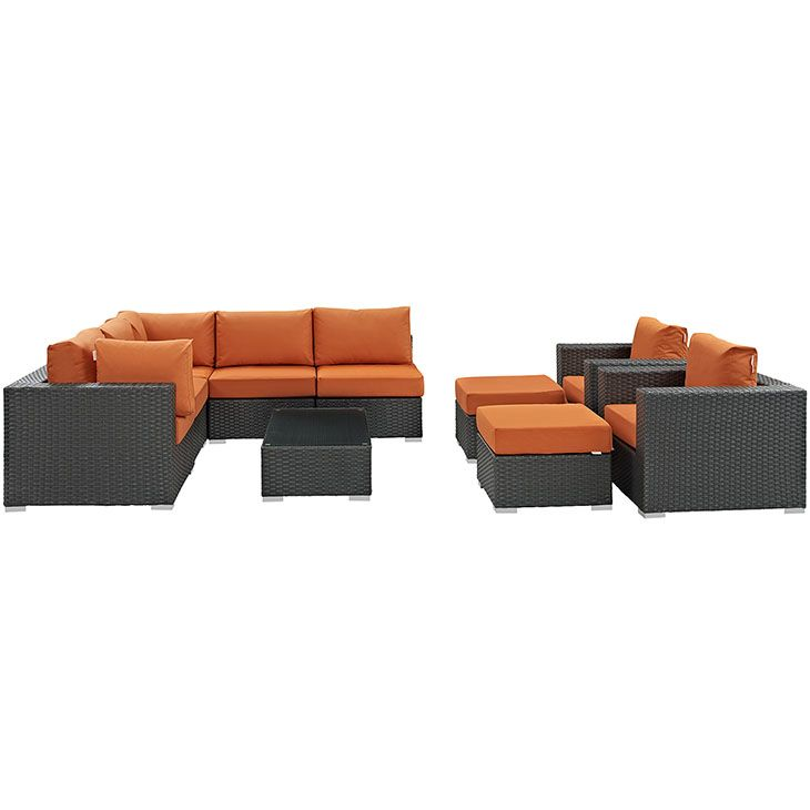 Sojourn 10 Piece Outdoor Patio Sunbrella Sectional Set In Canvas