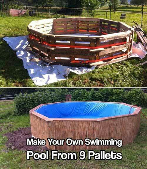 Make Your Own Swimming Pool From 9 Pallets Diy pool