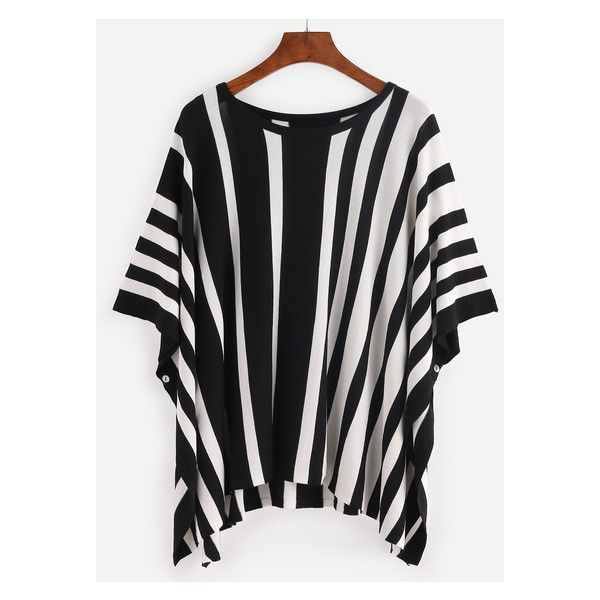 Black White Vertical Stripe Dip Hem Batwing Blouse (29 BAM) ❤ liked on Polyvore featuring tops, blouses, batwing blouse, black and white tops, black and white blouse, vertical stripe top and white and black top