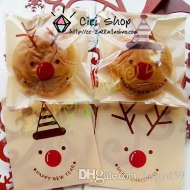 Best 10*9 Cm #Christmas Hat Antler Gift #Bag Cake Biscuit Cookie Pastry Bakery Candy Packaging Ziplock Bag Baking Package Bag Under $3.89 | Dhgate.Com