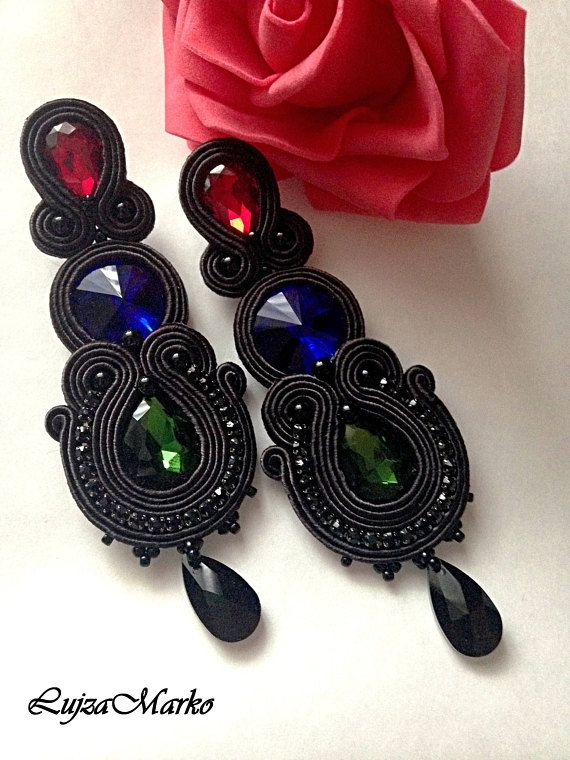 Soutache black long elegant earrings