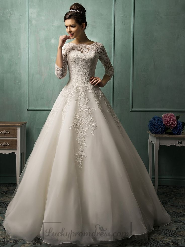 Three Quarter Sleeves Illusion Neckline A-line Wedding Dress