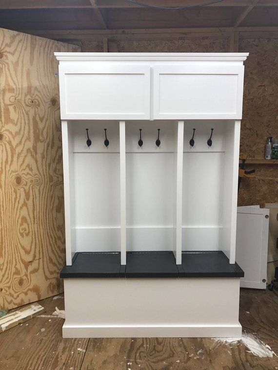 Entryway Locker 3 Cubby With Top Cabinets Measures 84x52x18 Bench Stained Carbon Grey