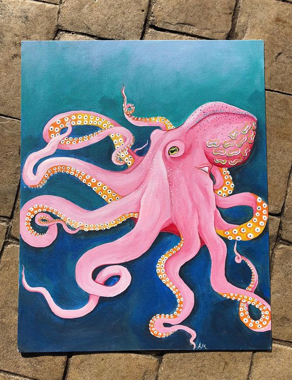 Large octopus painting on a canvas board. Vibrantly colored using acrylic paints. Perfect for any ocean or animal enthusiast!