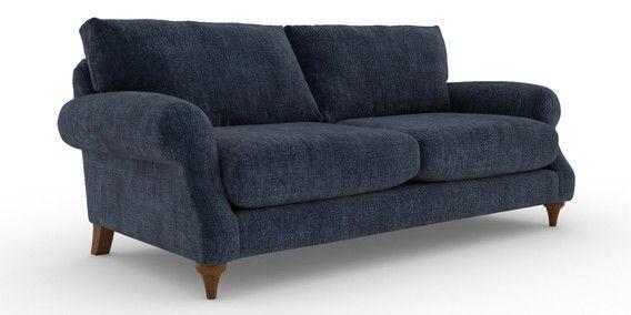 Buy Rohan Casual Sit Large Sofa 3 Seats Sumptuous Velour Dark