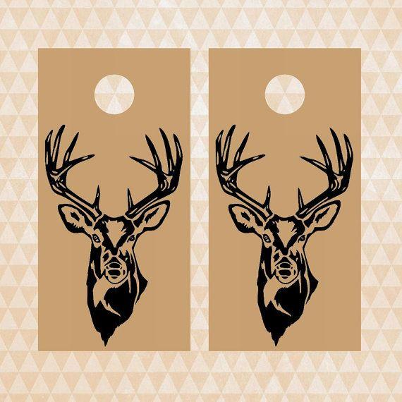 deer corn hole decals deer hunting decal cornhole by EtagaDesigns
