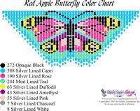 Dainty Red Apple Butterfly Fringe Necklace Printable Bead Graph for Beading