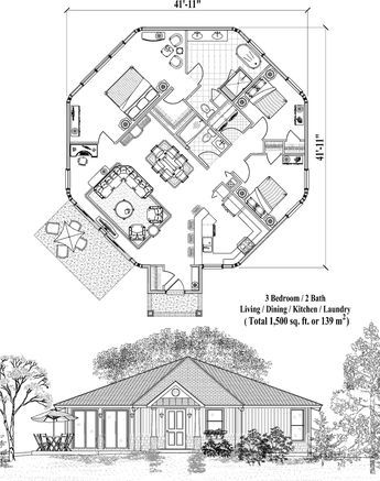 Online House Plan: 1500 sq. ft., 3 Bedrooms, 2 Baths, Patio Collection (PT-0621) by Topsider Homes.