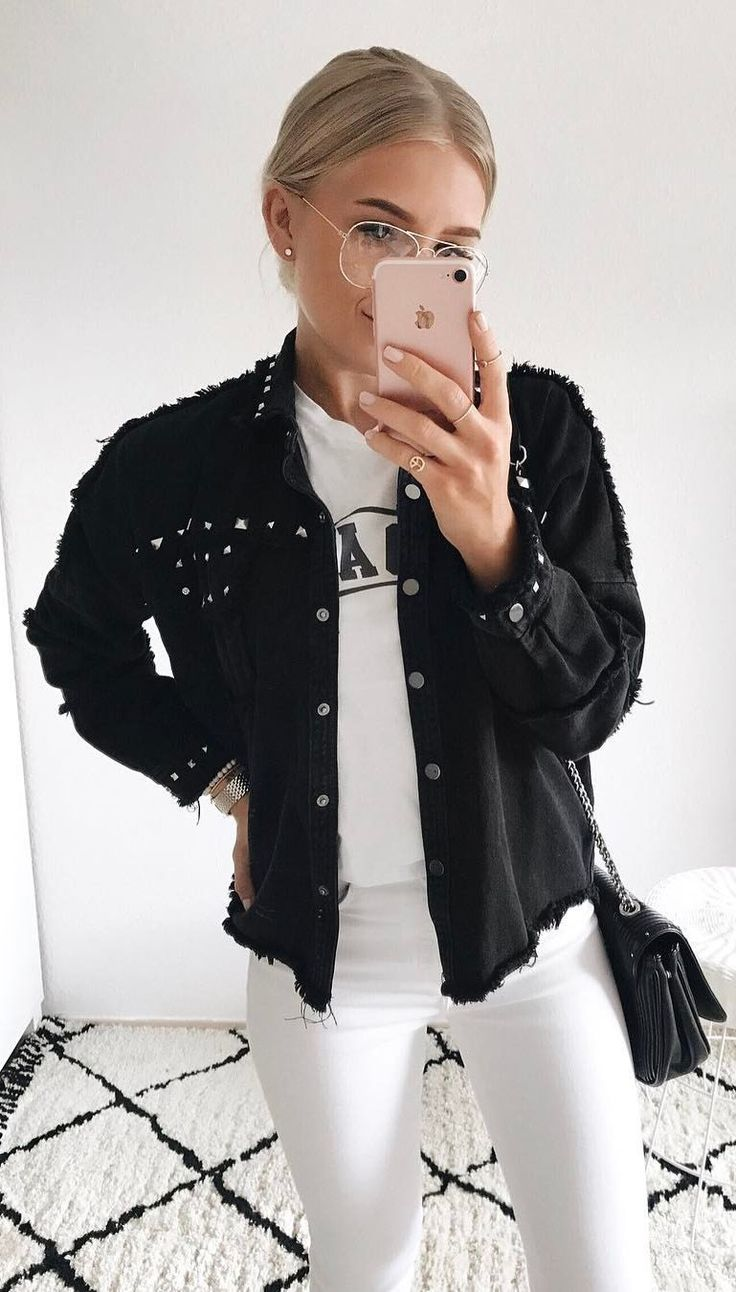 #summer #outfits  Black Jacket + White Printed Tee + White Skinny Jeans 🖤