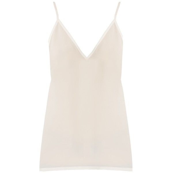 Raey V-neck silk cami top (€105) ❤ liked on Polyvore featuring tops, tank tops, ivory, pink tank top, silk camisole, pink tank, v neck cami and strap tank