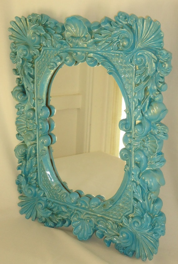Shimmery Turquoise Mermaid Mirror by FORTIERgallery on Etsy, $49.00