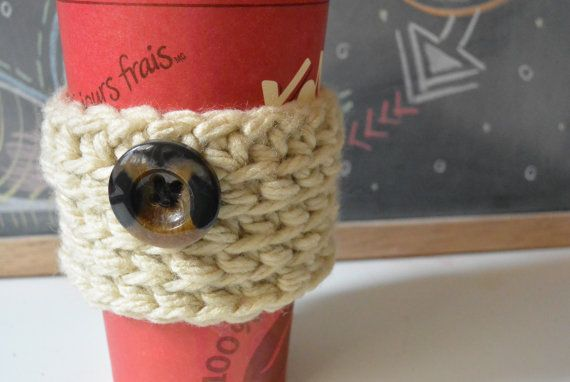 Beige Cup Sleeve, Crochet Coffee Cup Sleeve, Mug Cozy With Button