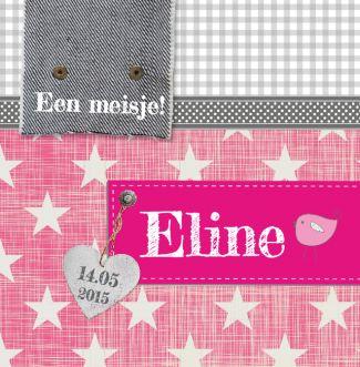 Geboortekaartje | Eline Stoer, sterren, meisje, roze