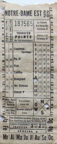 Transfer from Montreal, Quebec, Canada (date unknown)