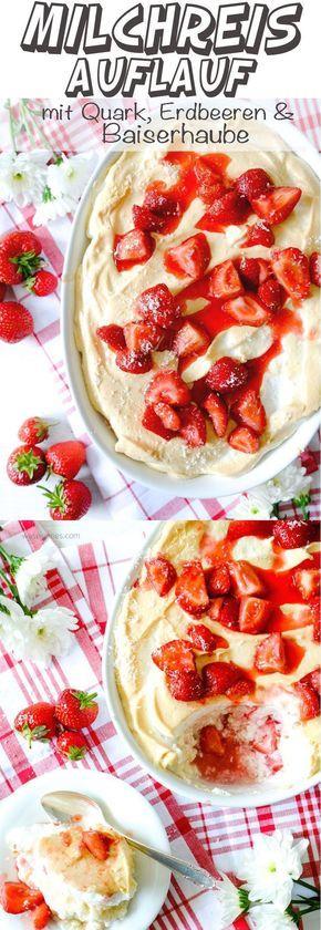 Milchreisauflauf mit Erdbeeren und Baiserhaube