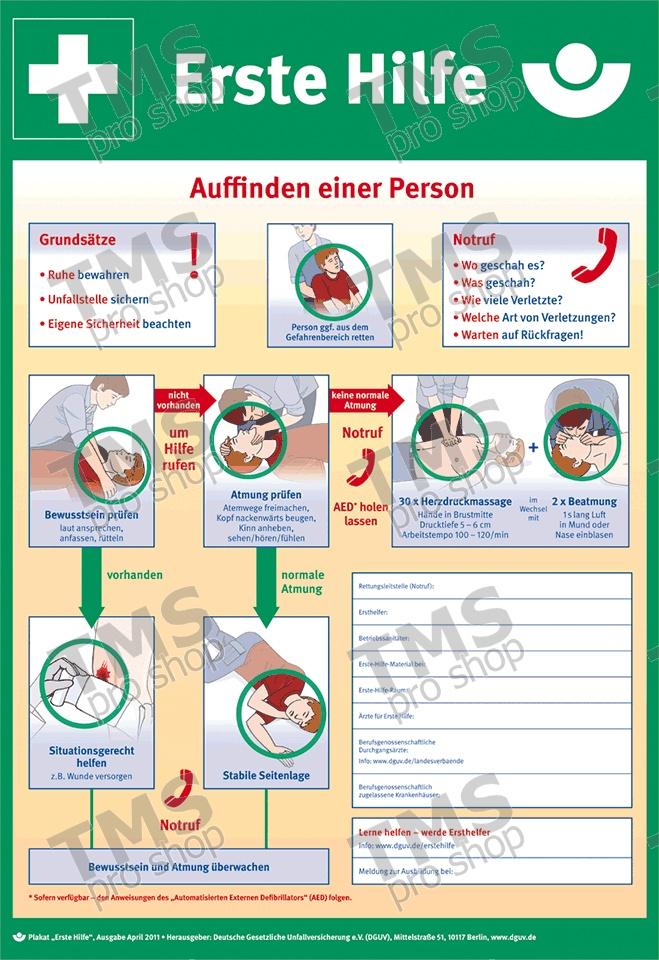Erste-Hilfe-Aushang Anleitung zur Ersten Hilfe