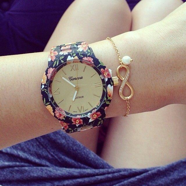 2014 Fashion Geneva Watch Rose Print Spring/Dark/Light Flower Geneva Watch for Ladies Casual Wristwatches Quartz Watch for Women $35.68