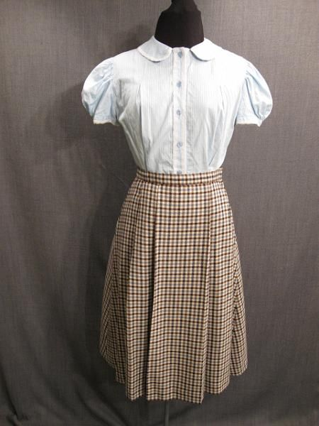 09007432 09007531 Blouse and Skirt Teen Girl 1930s, lt blue cotton blue brown gingham wool, B34 W27.JPG