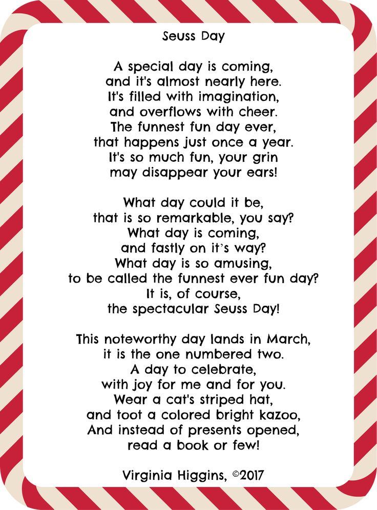 Celebrate Dr Seuss Day- 5x7 Printable Seuss Day Poem by Virginia Higgins, ©2017 and the complete list of Dr Seuss books at thatbaldchick.com