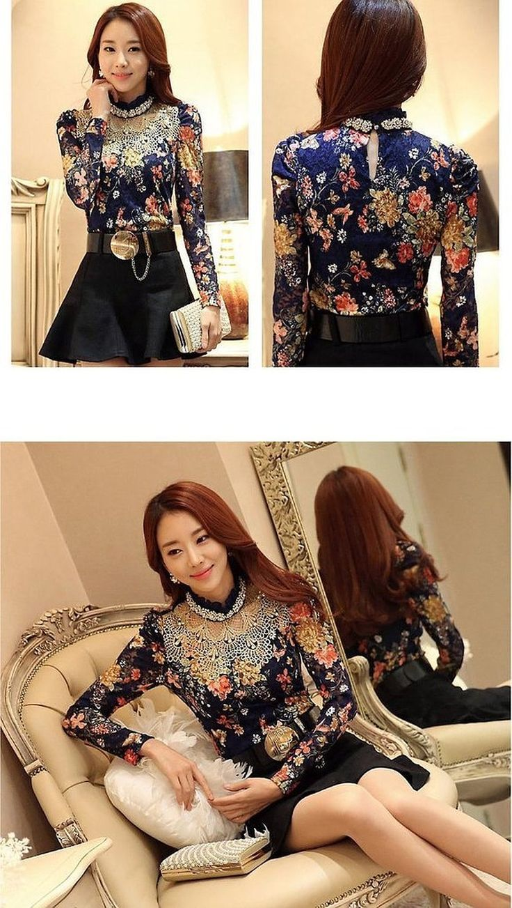 Minetome Ladies Blouse Lace Blouse Lace Long Sleeve Slim Fit Collar Lining Ol With Rhinestones: Amazon.co.uk: Clothing