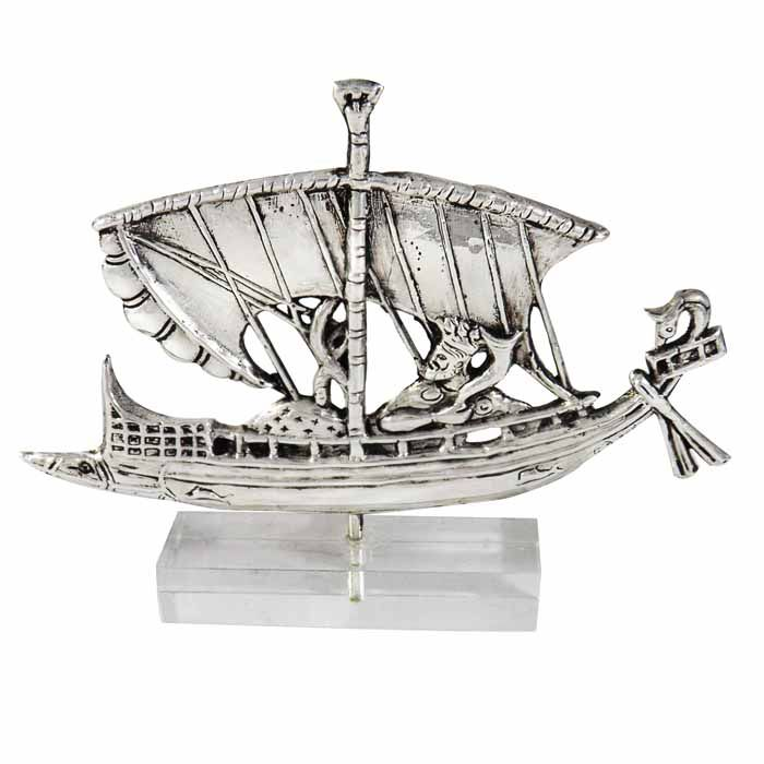 The ship of Dionysus from a representation of an Attic Vase. Dimensions: 14,5 cm x 11,5 cm x 2cm Silver 999° on acrylic base.
