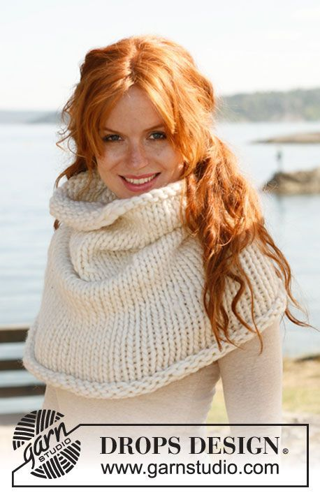 "Knitted DROPS neck warmer in ""Polaris"". ~ DROPS Design"