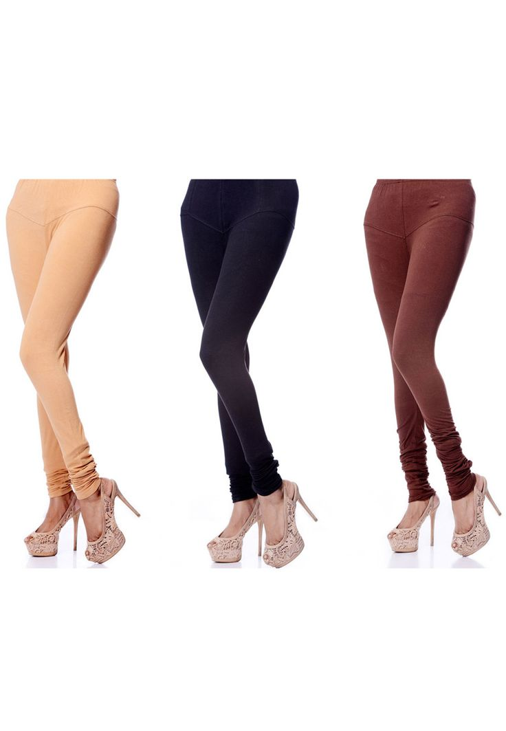 Beige, Black and Brown Readymade Cotton Lycra Legging Online Shopping: BST19